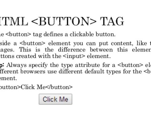HTML Button Tag