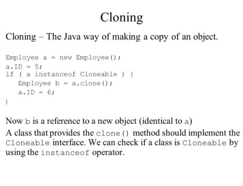 Object Cloning in Java